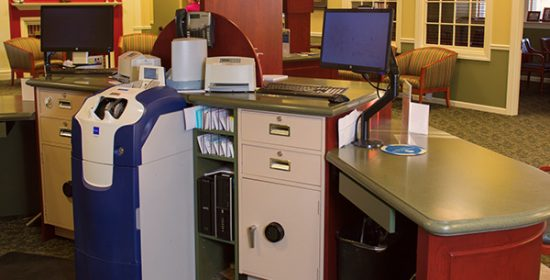 Bank branch refurbishment with dialogue towers and cash recyclers.