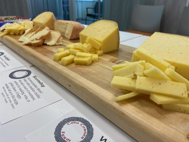 lineup of cheeses